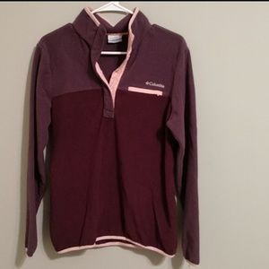 Pink and purple COLUMBIA pullover with snap button